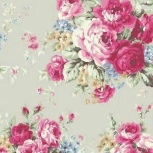Cottage-Shabby-Chic-Quilt-Gate-RURU-Bouquet-Rose-in-Paris-RU2370-11B-Pale-Grey