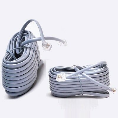 25ft RJ11 4C Modular Telephone//Phone Extension Line Cord Cable Wire 28AWG Gray