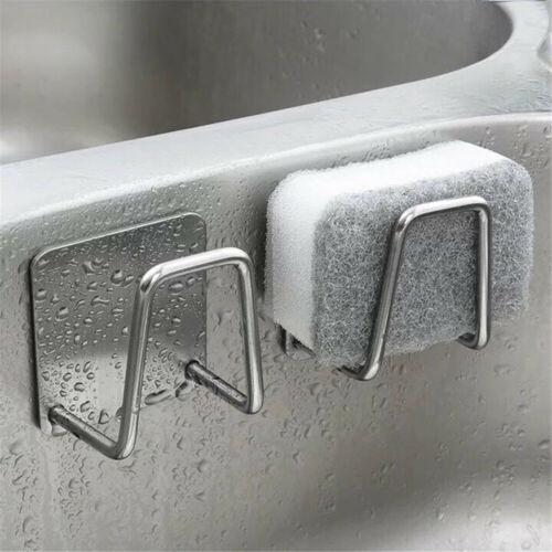 2Pcs Kitchen Stainless Steel Sponges Holder Sink Drain Drying Rack Sink Storage