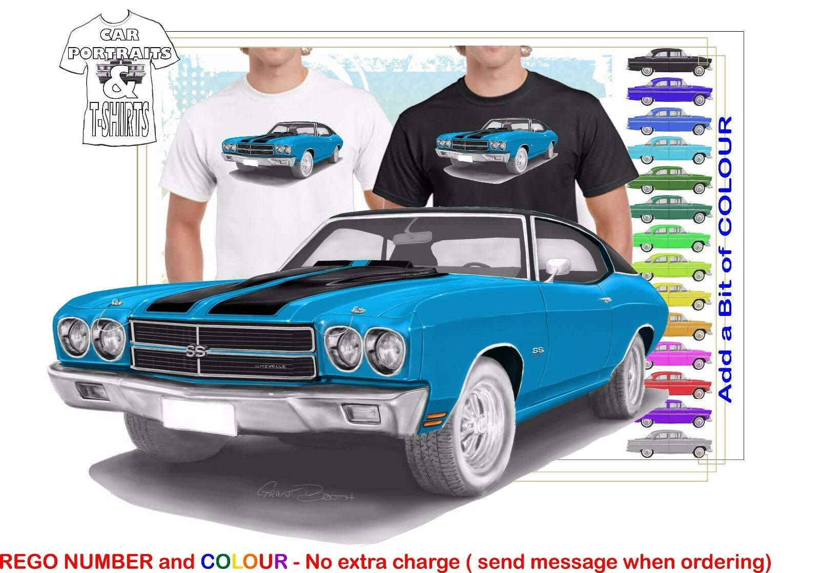 CLASSIC 1970 CHEVY CHEVELLE ILLUSTRATED T-SHIRT MUSCLE RETRO SPORTS CAR