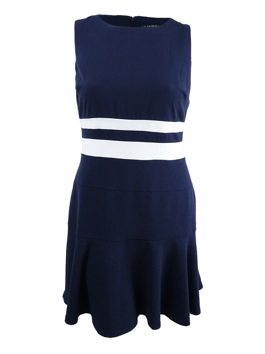 Lauren by Ralph Lauren Woherren Striped Fit & Flare Dress (14, Navy Weiß)