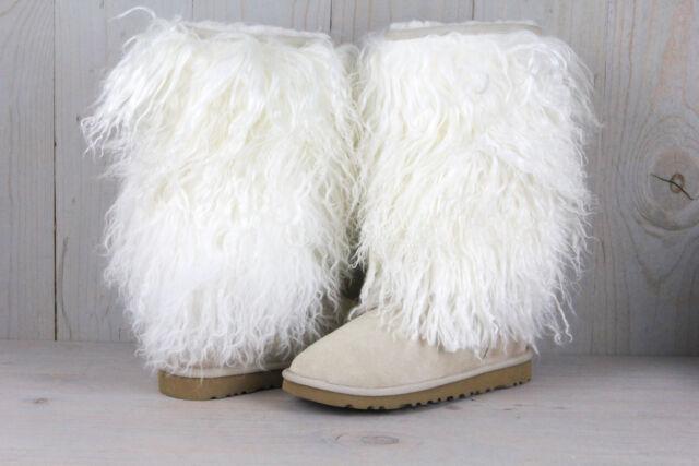 sz 7 ugg australia tall sheepskin mongolian cuff boots s n 3166 sand rh ebay com