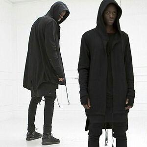 d436acf09 Image is loading Fashion-Mens-hooded-jacket-long-cardigan-black-goth-