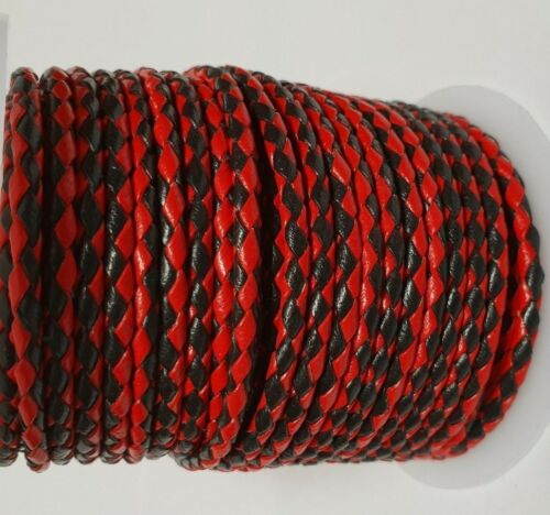 QUALITY BRAIDED LEATHER 3mm ROUND BOLO CORD LANYARDS BRACELETS CRAFTS Red+Black