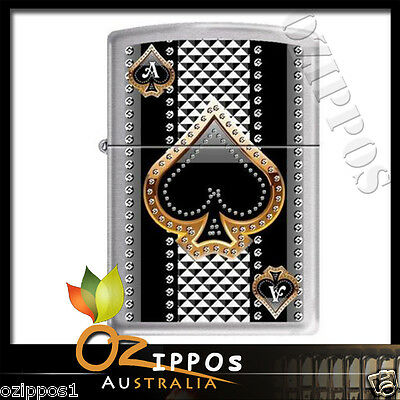 Zippo Lighter Ace of Spades Brushed chrome 7951 -- Free Shipping in Australia