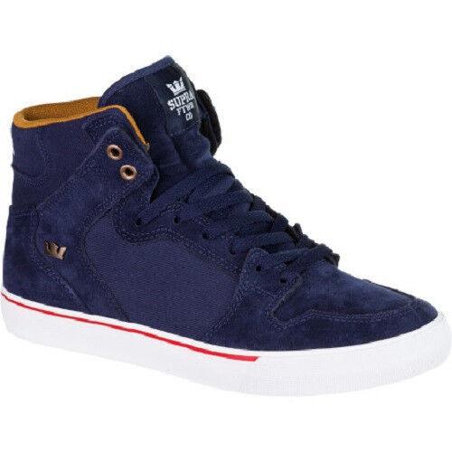 SUPRA VAIDER Mens Skate Shoes (NEW) Navy Blue & White : SIZES 9-13 Free Shipping