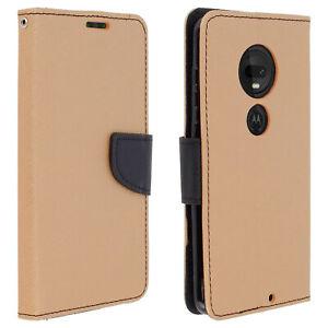 Fancy-Stile-Copertura-Portafoglio-Custodia-con-supporto-per-Motorola-Moto-G7-Oro-G7-Plus