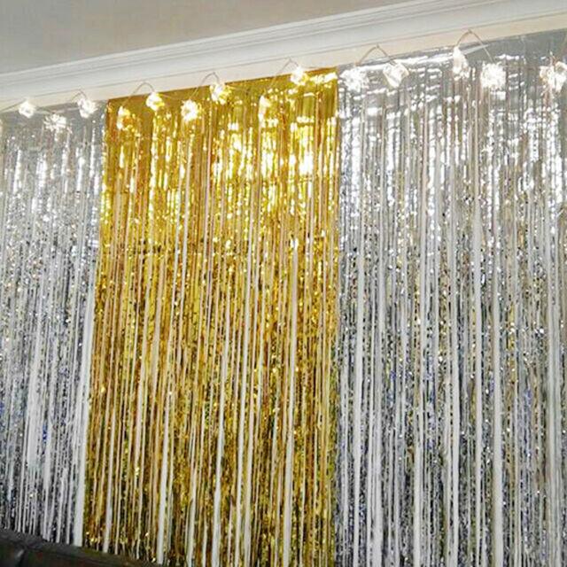 Metallic Fringe Curtain Party Foil Tinsel Room Door Wholesale Wedding Home 2m*1m