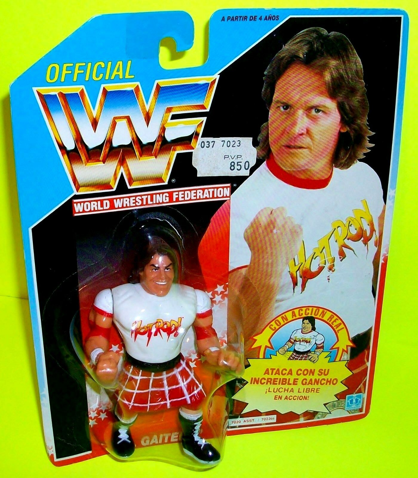WWE WWF Rowdy RODDY PIPER Hot Rod SummerSlam Vtg Action Figure RARE SPANISH CARD