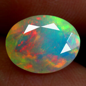 1.65 Carats 10x7.5mm Oval NATURAL OPAL Multi Color Rainbow Oval for Setting