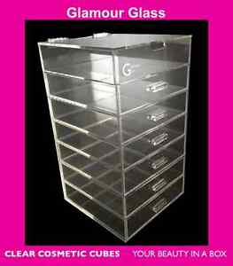 GlamourGlass CLEAR COSMETIC CUBE ORGANIZERS 7 Tier w ...