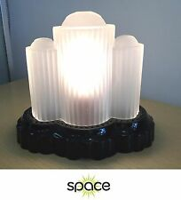 VINTAGE AMETHYST BLACK GLASS ART DECO TABLE LAMP W/ FROSTED CRYSTAL SHADE