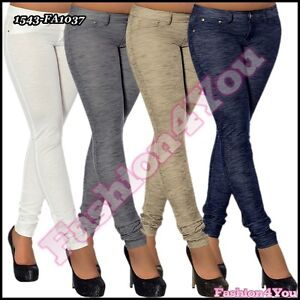 Sexy-Women-039-s-Office-Treggings-Ladies-Hipsters-Skinny-Pants-Size-8-10-12-14-UK