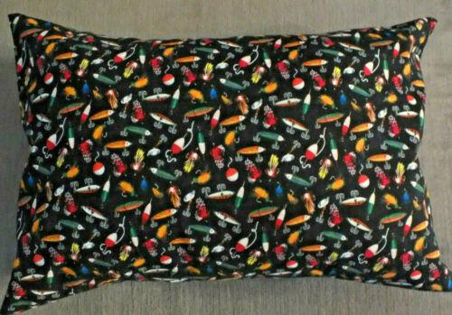 Homemade Envelope Style Travel Toddler  Pillowcase 12 x 16 Fishing Lures