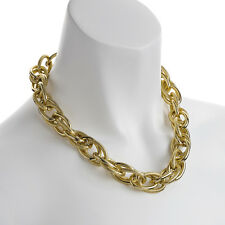 Fashion jewellery gold colour oversized textured rope chain choker necklace