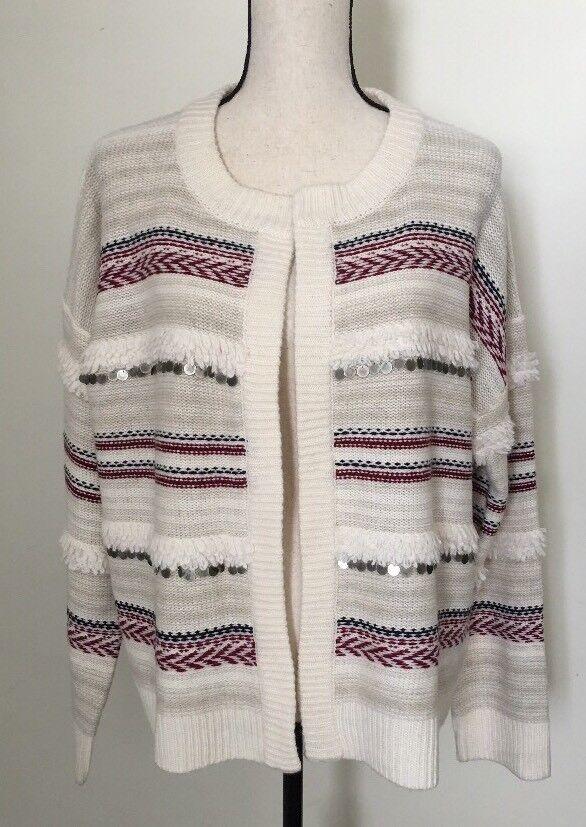 NEW Madewell  158 paillette-stripe cardigan sweater SzL ANTIQUE CREAM H3421