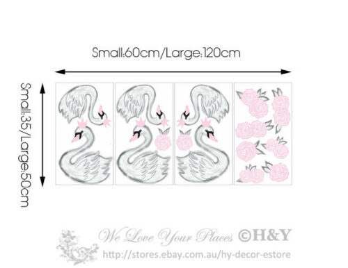 Pink Swan Wall Sticker Removable Vinyl Decal Girls Nursery Decor Art Mural Gift