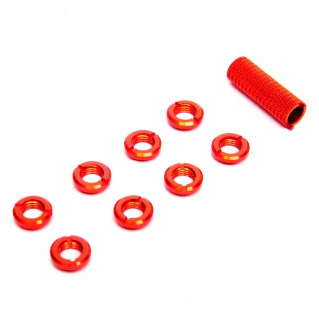 8 Pieces Spektrum Radio Switch Nuts with Disassembling Tool Red 1.02CM Dia