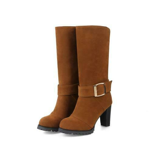 Details about  /Womens Ladies Punk Suede Fabric Chunky High Heel Mid Calf Zipper Booties 34//44 D