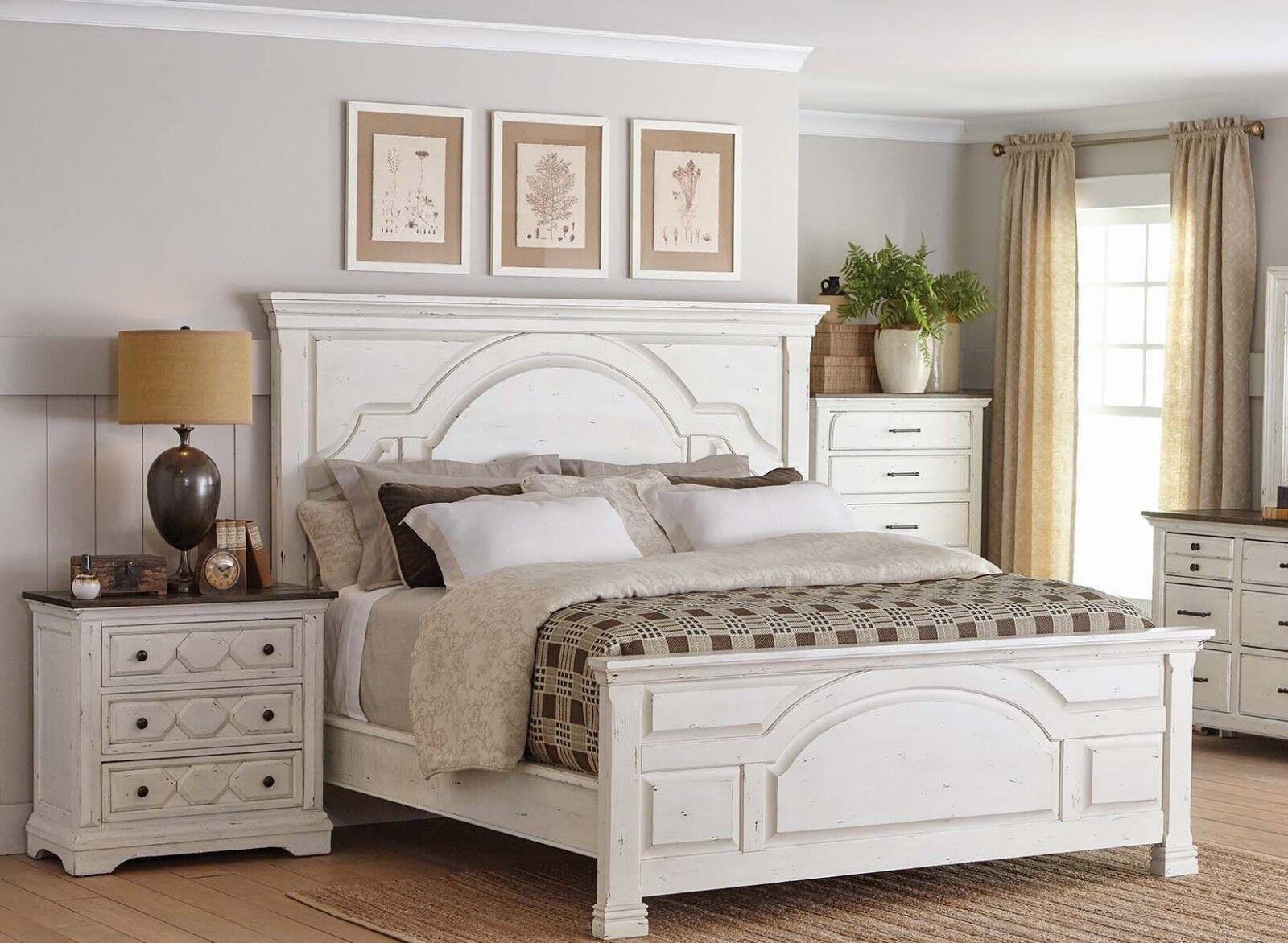 RUSTIC 4 PC WHITE WOOD QUEEN BED NIGHTSTAND DRESSER MIRROR BEDROOM  FURNITURE SET