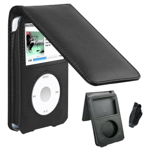 Black Leather Case for iPod Classic 80GB//120GB//160GB 6th 7th Generation