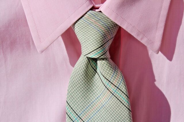 Polo Ralph Lauren Summery Blue-Green Check Gentleman's All Silk Necktie
