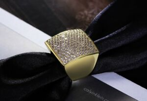 bcc536061 18k Gold Large Square Ring made w/ Swarovski Crystal Pave Stone ...