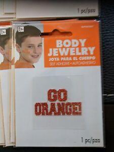 LOT-OF-24-034-Go-Orange-034-Body-Jewelry-Glitter-Team-Spirit