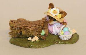 Wee Forest Folk Egg Hunt M-332 Mouse in Easter Bonnet Eggs in Hollow Log