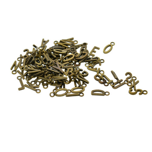 100 X Lot Alphabet A-Z Letter Charms DIY Jewelry Making Silver//Bronze-Pendent