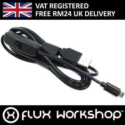 Micro Male Inline Switch Power Raspberry Pi 5V Flux Workshop 1.5m USB-A