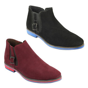 Mens Suede Black Red Italian Style Slip On Smart Casual Chelsea ... fec8a006685