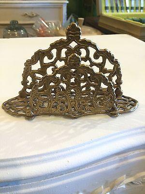 Vintage Brass Ornate Letter Holder Napkin Holder Hollywood Regency q8