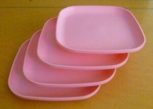 Image is loading Tupperware-Free-Ship-New-4-Dishes-Square-Classic- & Tupperware Free Ship New 4 Dishes Square Classic Plates Raised Edges ...