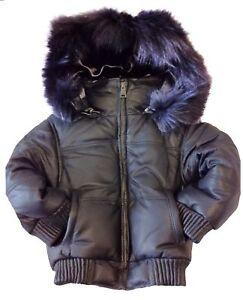kids black leather bomber jacket detachable hood genuine ...