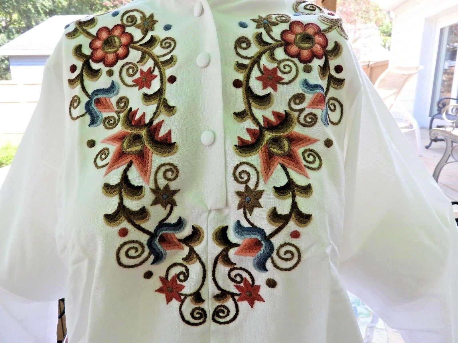 Vintage 80's Blouse Embroidery Hungarian Traditio… - image 4