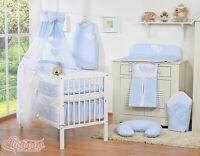 Baby Boy Nursery Gingham Blue 11pcs Bedding Set Cot / Bed + Free Canopy Holder