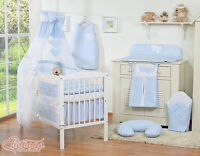 Baby Boy Nursery Gingham Blue 11pcs Bedding Set Cot / Bed + Free Canopy Holder