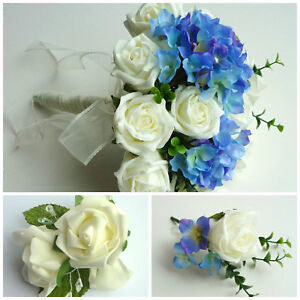 Image Is Loading Hydrangea Artificial Wedding Flowers Brides Bouquet Bridesmaid Onhole