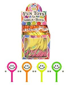 NEW BOX 72 MINI COLOURFUL SPINNING MONKEY DRUMS SMILEY PLASTIC PARTY LOOT BAG HB