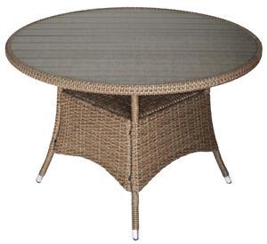 Gartentisch Rattan Rund.Details Zu Kmh Polyrattan Gartentisch Tisch Rund 110cm Holzimitat Grau Rattantisch Natur