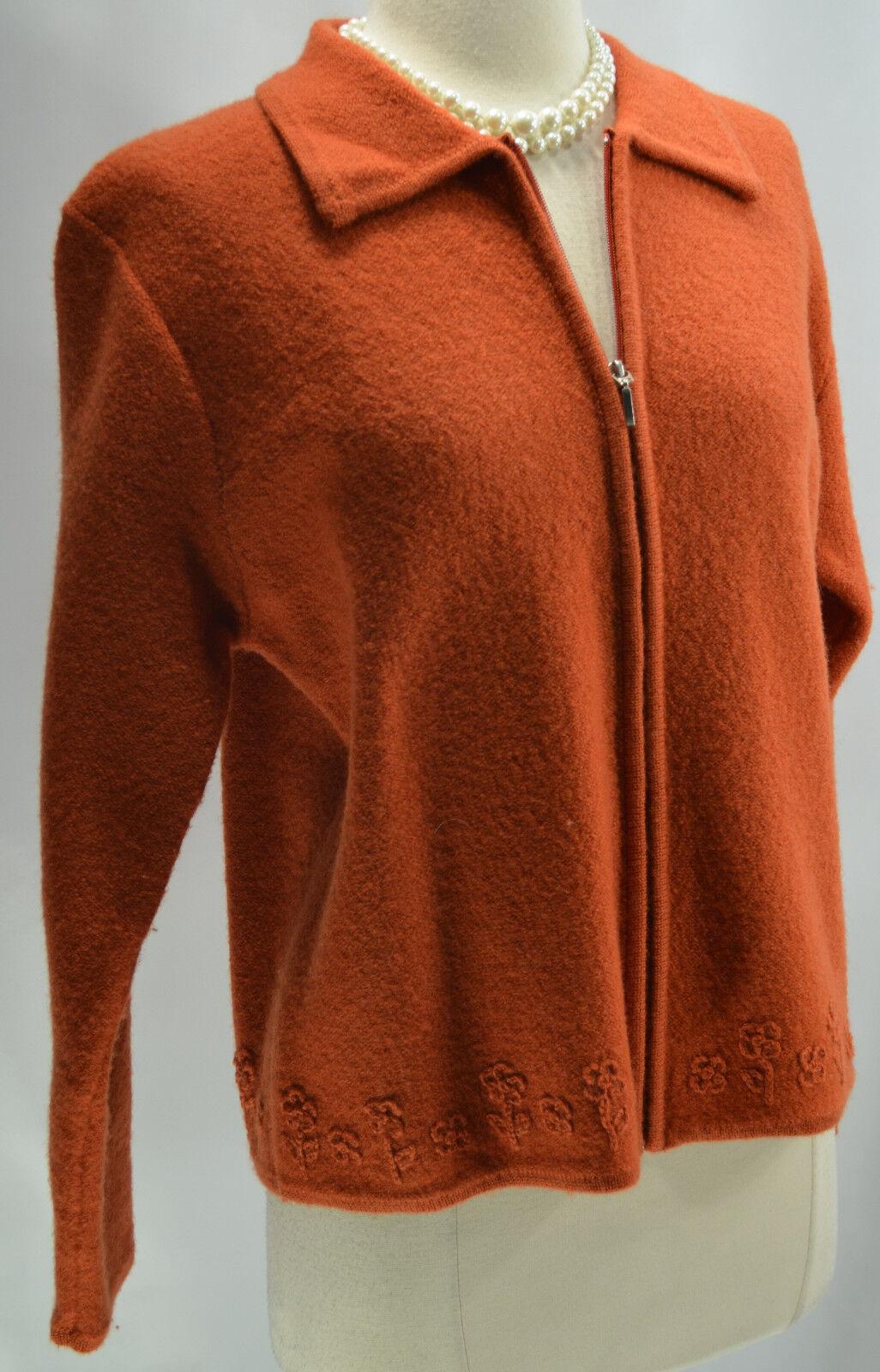 Karen Scott Boiled Wool knit Sweater ski Cardigan Zip Australia orange M VTG NEW