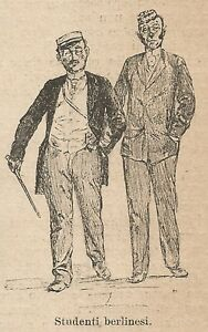 CompéTent A9551 Studenti Di Berlino - Xilografia - Stampa Antica Del 1906 - Engraving