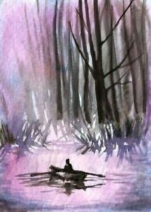 ACEO-Boat-river-abstract-landscape-painting-watercolor-original-misty-art-card