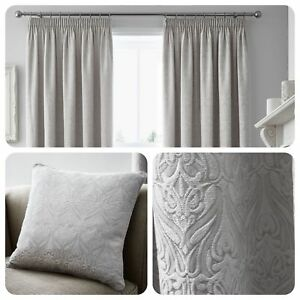 Curtina-VOYSEY-Silver-Woven-Damask-Pencil-Pleat-Curtains-amp-Cushions