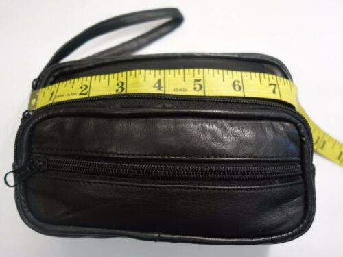 Small Soft Leather Gents Wrist Bag with Four Zipped Pockets for travel,Taxi etc