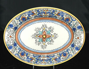 Made-In-Portugal-Umbria-OVAL-PLATTER-14-1-4-034-Scrolls-Medallion-Rare-EXC