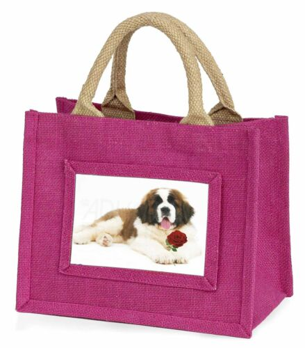 Bernard Dod with Red Rose Little Girls Small Pink Shopping Bag AD-SBE5RBMP St