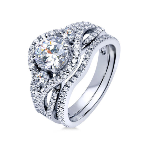 Sterling Silver 925 Women/'s CZ Round Halo Engagement Ring Wedding Band Set 5-10