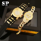 Men Hip Hop Iced Out Bling Silicone Band Watch & Praying Hands Bracelet Gift Set